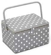 Grey Spot Sewing Box (Large) - HobbySew