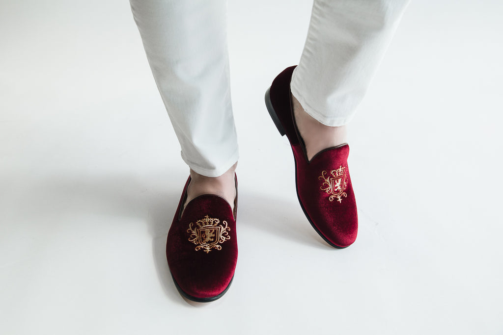 Winston Wine Embroidered Velvet Loafer