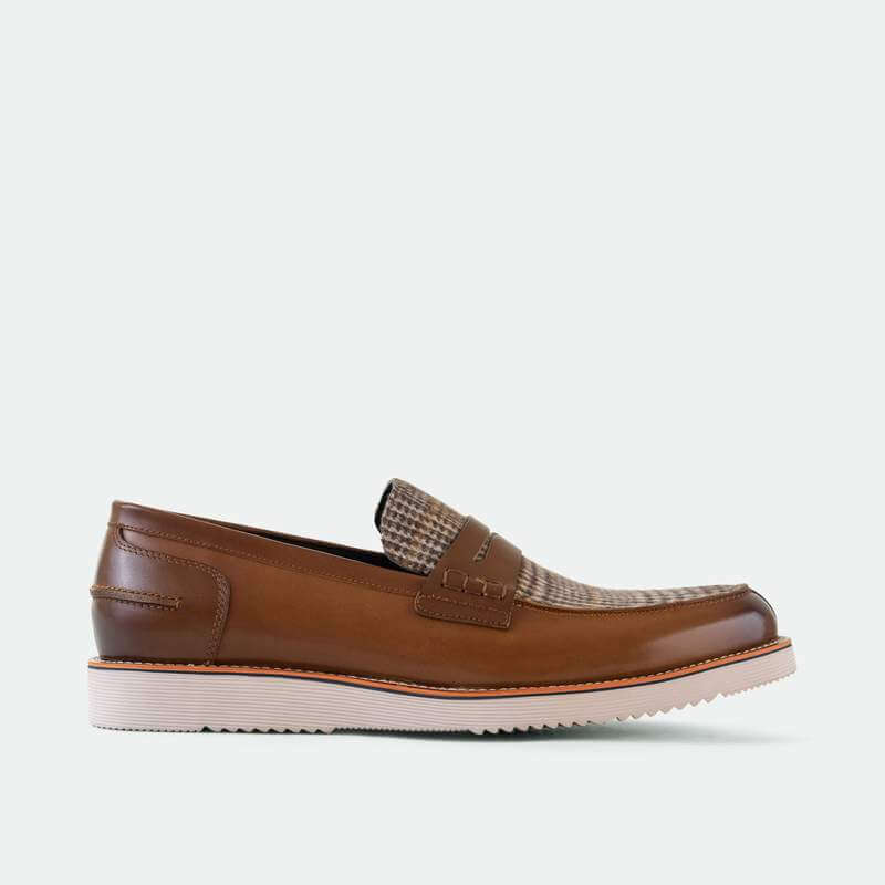 Marc Nolan Ace Cognac Plaid Penny Loafers