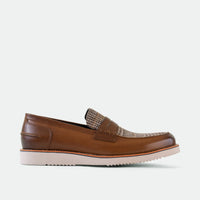 Abe Cognac Plaid Penny Loafers