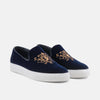 Winston Navy Embroidered Velvet Sneakers