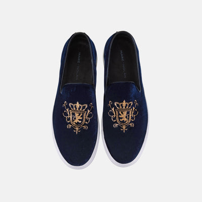 Winston Navy Embroidered Velvet Sneakers - Marc Nolan