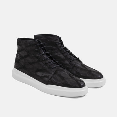 The Axel sneakers have calfskin leather in a chic ostrich skin pattern making them the best men's high-top shoes.