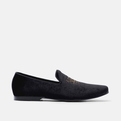 Winston Black Embroidered Velvet Loafers