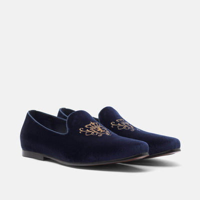 Winston Navy Embroidered Velvet Loafers - Marc Nolan