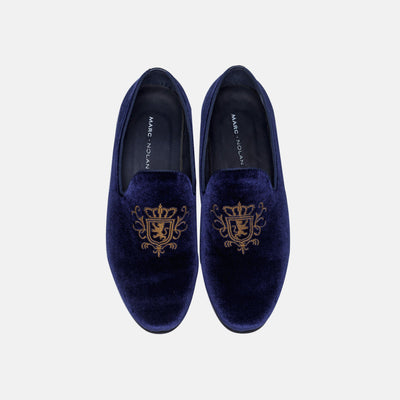 Winston Navy Embroidered Velvet Loafers