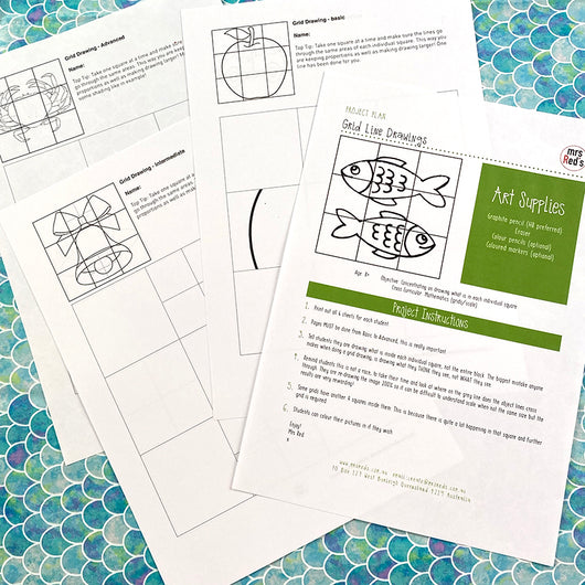 Grid Line Drawing | Digital Art Lesson Plan | Downloadable