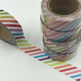 Popular Washi Tape | Decorative | Glitter | Pastel | Designs - Multi coloured stripes