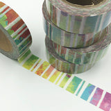 Popular Washi Tape | Decorative | Glitter | Pastel | Designs - Multi coloured wash white lines