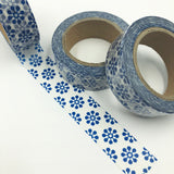 Popular Washi Tape | Decorative | Glitter | Pastel | Designs - Blue round motif