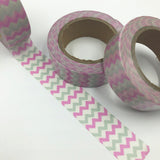 Popular Washi Tape | Decorative | Glitter | Pastel | Designs - Pink and silver zig-zag