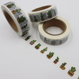 Popular Washi Tape | Decorative | Glitter | Pastel | Designs - Pots of cactus