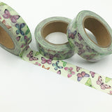Popular Washi Tape | Decorative | Glitter | Pastel | Designs - Butterflies on mint green background