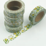 Popular Washi Tape | Decorative | Glitter | Pastel | Designs - Lemon and leaves