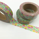 Popular Washi Tape | Decorative | Glitter | Pastel | Designs - Multi coloured zig-zag arrows