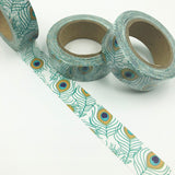 Popular Washi Tape | Decorative | Glitter | Pastel | Designs - Peacock feathers
