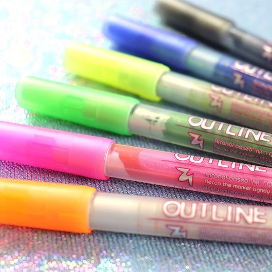 Metallic outline marker pens
