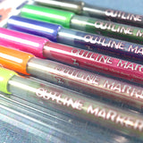 Set of 6 marker pens with a metallic fill and colourful outer edge.