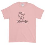 pink skateboarding dog tee shirt hand drawn graphic skateboard streetwear ghoul monster snoopy cartoon peanuts skateboard