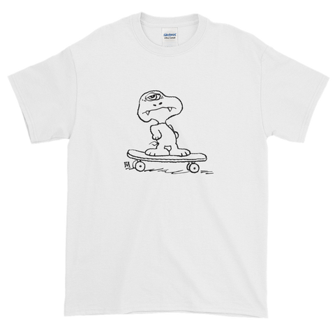 white skateboarding dog tee shirt hand drawn graphic skateboard streetwear ghoul monster snoopy cartoon peanuts skateboard