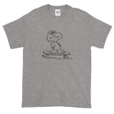 gray skateboarding dog tee shirt hand drawn graphic skateboard streetwear ghoul monster snoopy cartoon peanuts skateboard