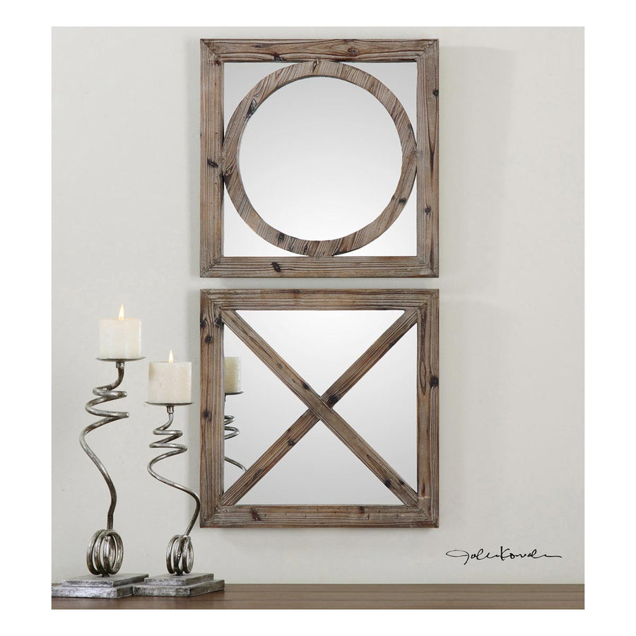 Baci E Abbracci Wooden Mirrors, Set of 2