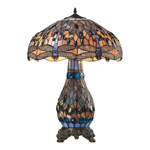 2-Light Tiffany Bronze Table Lamp