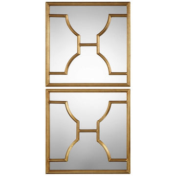Misa Gold Square Mirrors Set of 2