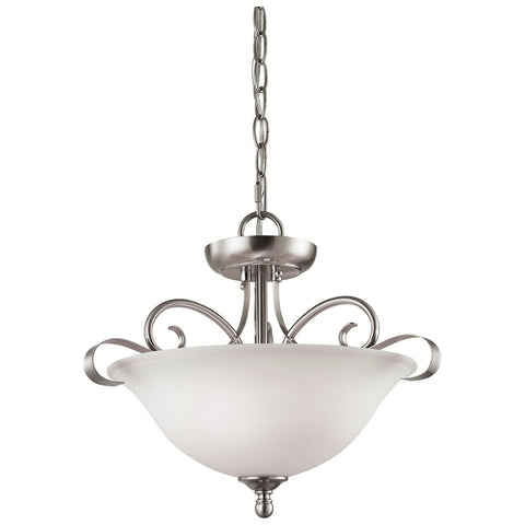 Brighton 2-Light Convertible LED Semi Flush in Brushed Nickel