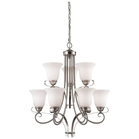 Brighton 9-Light LED Chandelier in Brushed Nickel