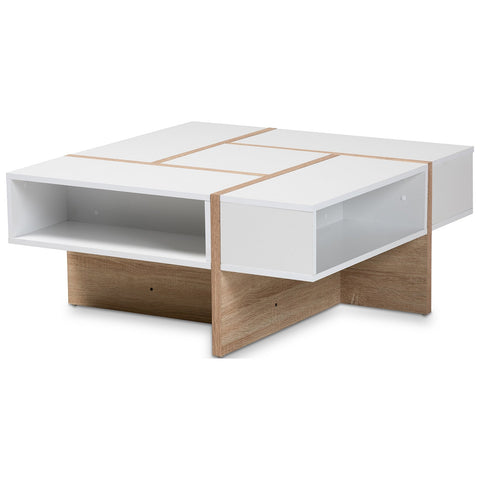 Baxton Studio Rasa Two-Tone White and Oak Finished Wood Coffee Table