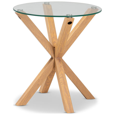 Baxton Studio Lida Glass and Wood Finished End Table