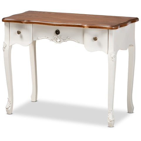 Baxton Studio Sophie White and Brown Small 3-Drawer Wood Console Table