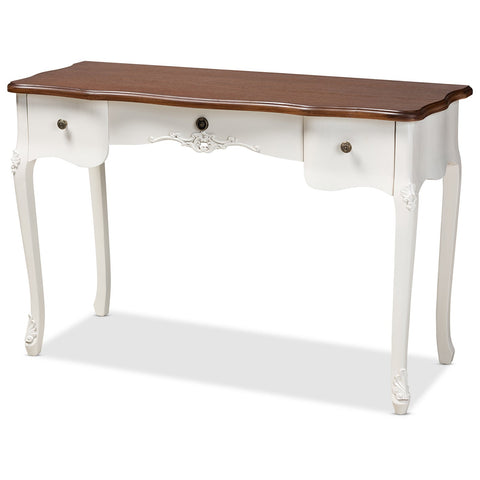 Baxton Studio Sophie White and Brown Large 3-Drawer Wood Console Table