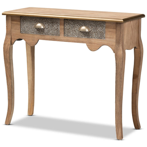 Baxton Studio Clarice Natural Brown Wood Metal 2-Drawer Console Table