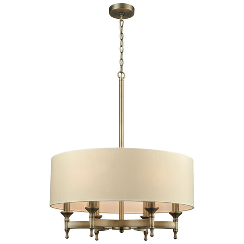 Pembroke 6-Light Brushed Antique Brass Chandelier with a Light Tan Fabric Shade