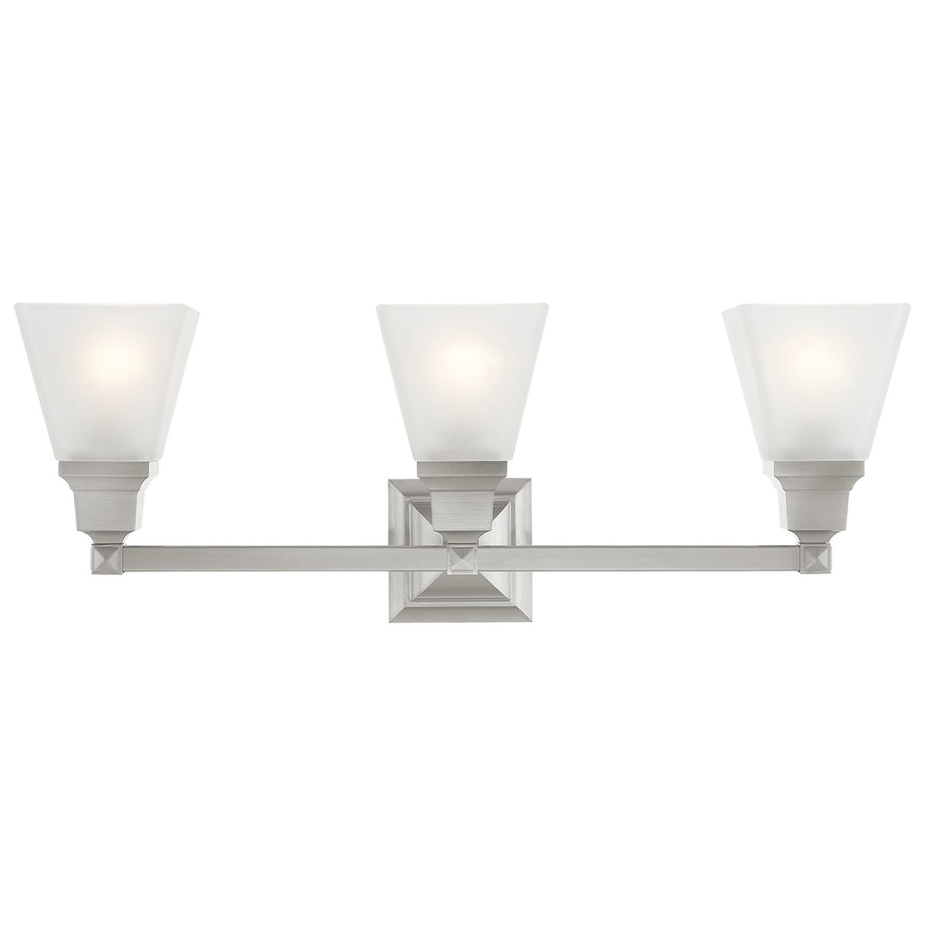 Mission 3-Light Brushed Nickel Bath Light