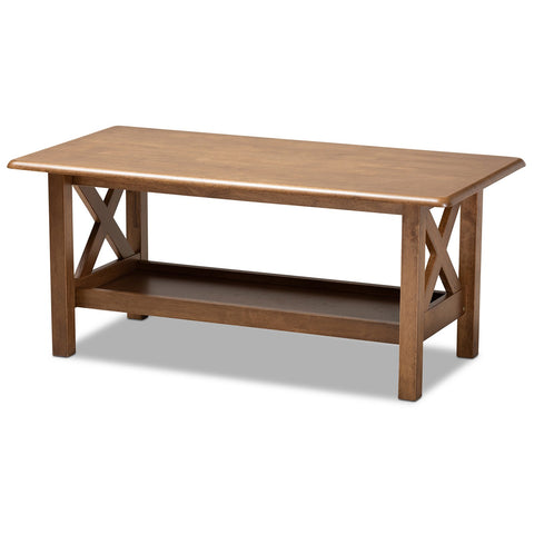 Baxton Studio Reese Walnut Brown Rectangular Wood Coffee Table