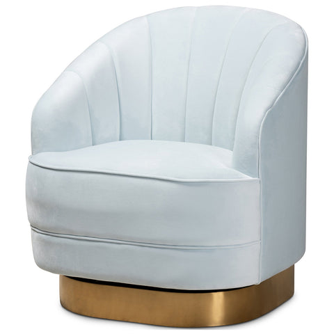 Baxton Studio Fiore Upholstered Brushed Gold Swivel Accent Chair