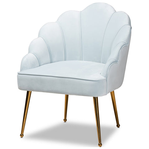 Baxton Studio Cinzia Upholstered Gold Seashell Shaped Accent Chair