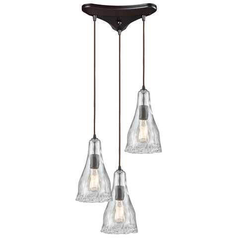 Hand Formed Glass 3-Light 12W x 12H Triangular Pendant Fixture in Oiled Bronze