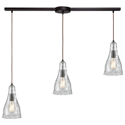 Hand Formed Glass 3-Light 38W x 12H Linear Mini Pendant Fixture in Oiled Bronze