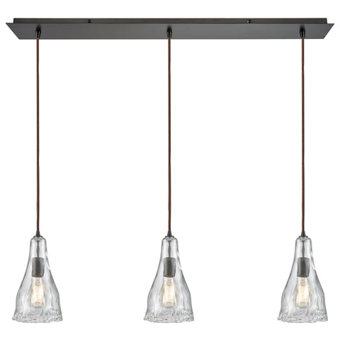 Hand Formed Glass 3-Light 36W x 12H Linear Mini Pendant Fixture in Oiled Bronze