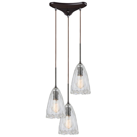 Hand Formed Glass 3-Light 12W x 10H Triangular Pendant Fixture in Oiled Bronze