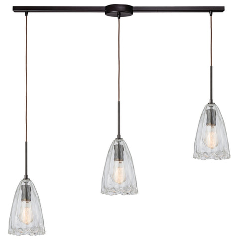 Hand Formed Glass 3-Light 38W x 10H Linear Mini Pendant Fixture in Oiled Bronze