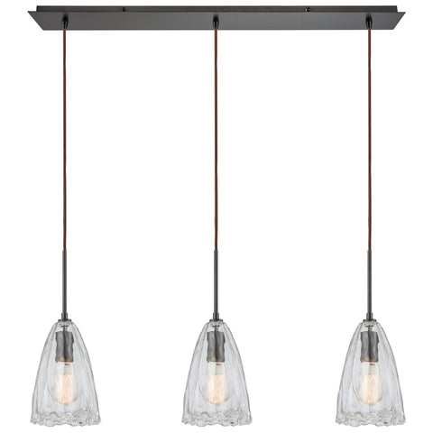 Hand Formed Glass 3-Light 36W x 10H Linear Mini Pendant Fixture in Oiled Bronze