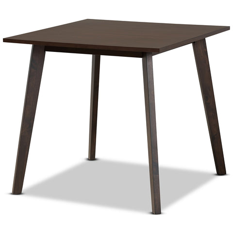 Baxton Studio Britte Dark Oak Brown Square Wood Dining Table