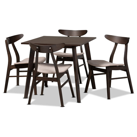 Baxton Studio Britte Dark Oak Brown 5-Piece Wood Dining Set
