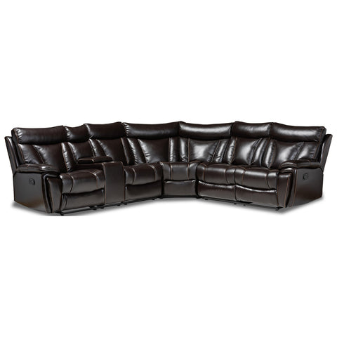 Baxton Studio Lewis Dark Brown 6-Piece Reclining Sectional Sofa
