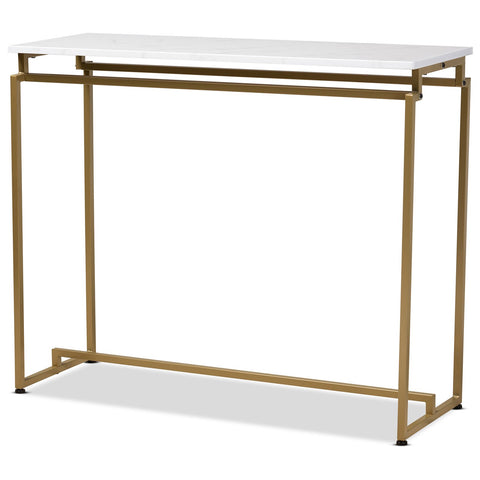 Baxton Studio Renzo Brushed Gold Console Table - Faux Marble Tabletop